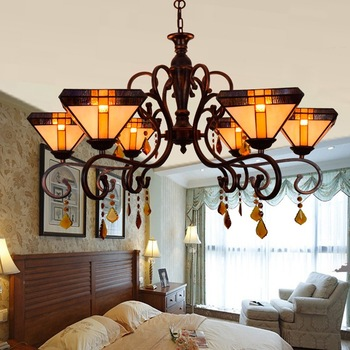 Eropa Retro Tiffany Seni Ruang Tamu Lampu Kamar Tidur Restoran Bar Club Multi Kaca Patri Lampu Gantung Kristal 110-240 V