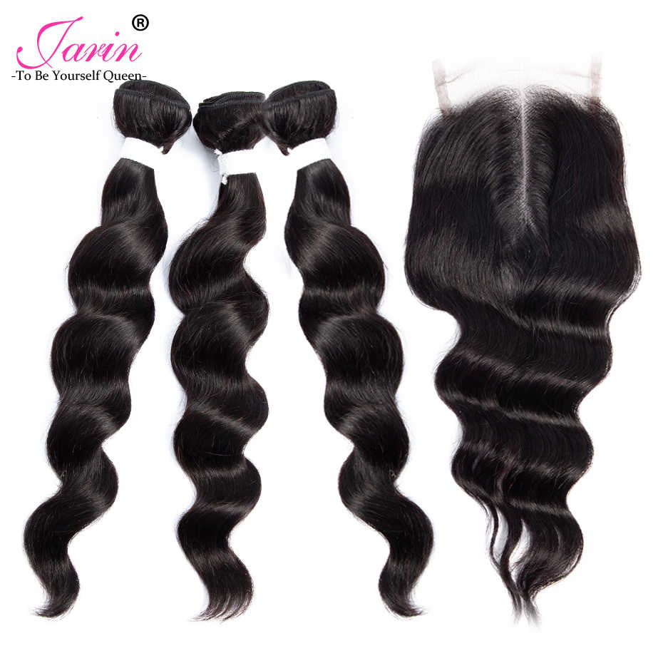 Jarin Brazilian Hair Weave Bundles With Closure Free Middle Part Brazilian Loose Wave 3 Bundles With Closure Remy Human Hair