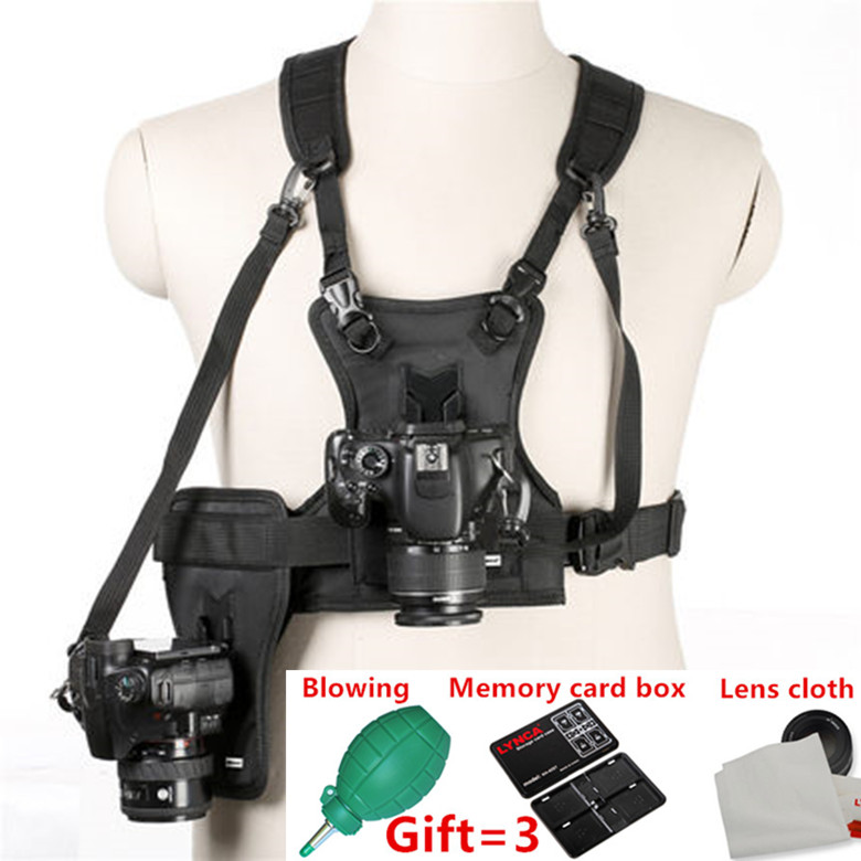 Micnova MQ-MSP01 Carrier II Multi Camera Carrier Photographer Vest with Dual Side Holster Strap for Canon Nikon Sony DSLR Camera micnova mq mb100 static electricity sensor 4 led light camera cleaning brush for canon nikon sony pentax slr lens cleaning pen