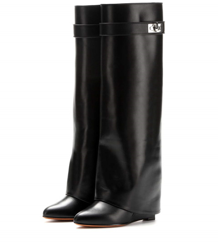 2018 Stylish winter wedge boats for women pointed toe knee high boots height increasing ladies motorcycle booties snow boots2018 Stylish winter wedge boats for women pointed toe knee high boots height increasing ladies motorcycle booties snow boots