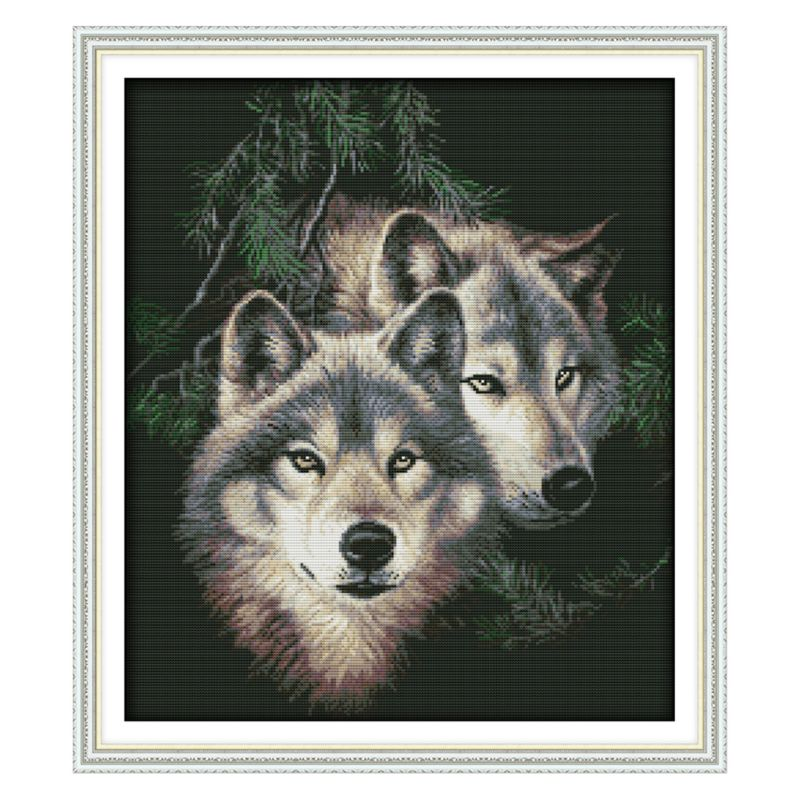 Wolf DIY Handmade Needlework Counted 14CT Printed Cross Stitch Embroidery Kit Set Home Decoration