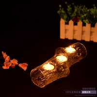 Fashion 4 Holes Woods Truck Glass Candle Holders Transparent Candlestick Romantic Dinner Home Decoration Lotus Candle
