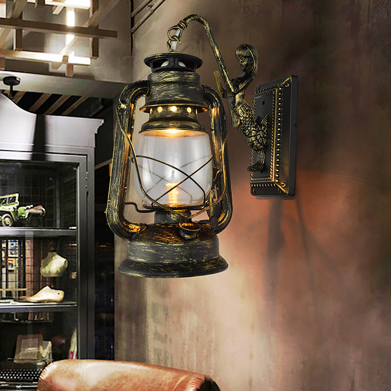 Retro Barn Lantern European Kerosene Wall Lamp Bedroom Bedside wall Lights,Wrought Iron glass Shade Restaurant Bar Aisle Sconce retro european pastoral style lantern kerosene wall lamps e27 lights sconce for restaurant bar bathroom bedside bedroom hallway