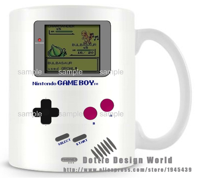 DIY New Gameboy Ceramic white coffee tea milk mug Pokemon funny novelty travel cup Personalized Birthday Easter gifts 2