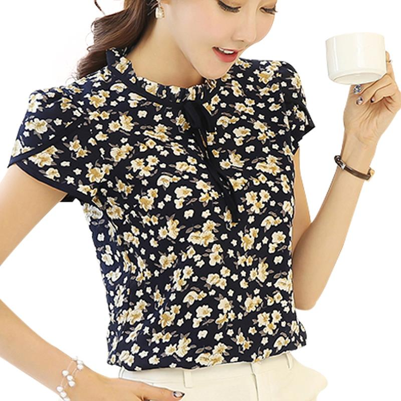 Summer women chiffon blouse floral print shirt ruffled collar petal short sleeve sexy ladies tops blusas