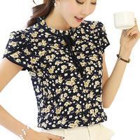 Summer Women Chiffon Blouse Floral Print Shirt Ruffled Collar Petal Short Sleeve Sexy Ladies Tops Blusas