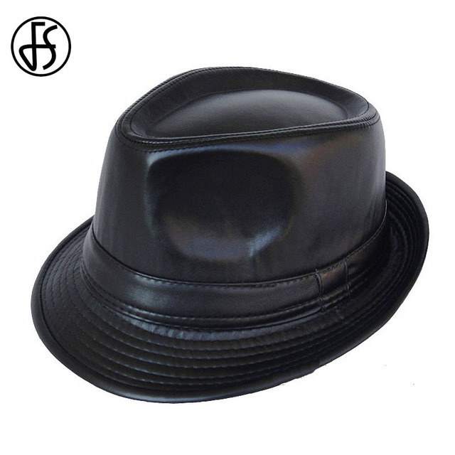 FS Autumn Winter Pu Leather Fedora Hat For Men Black Unisex Vintage Curl  Brim Male Trilby Hats Jazz Panama Cap Chapeau Homme 1dd3f93066c