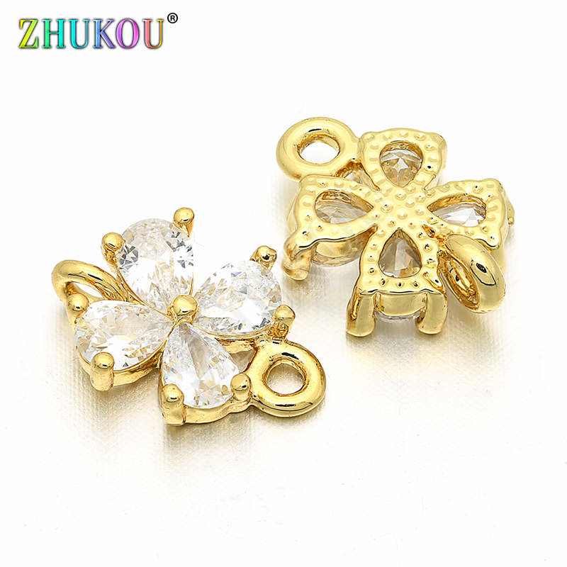 8*12mm Brass Cubic Zirconia Flower Connectors For DIY Jewelry Making Accessories Parts, Model: VS39