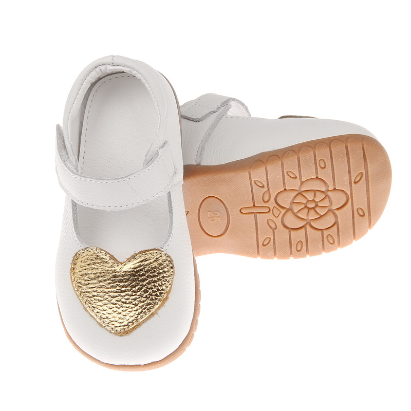 Girls Shoes Genuine Leather Black Love Leather Casual Soft Shoes Children Shoes Good Quality Stock Little Kids Beautiful Shoes