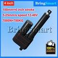 Comercio al por mayor 12-48V100mm 4 pulgadas 7000N actuador lineal 12 V 700 KG de Carga 5-25 mm/s Velocidad mini eléctrico Personalizado 24 v Motor Tubular