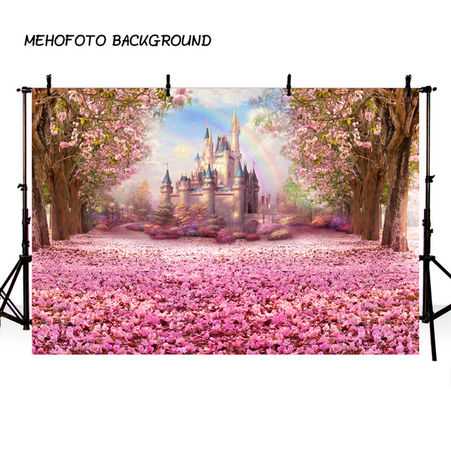 Fairy Tale Castle Flowers Children Birthday Party Photo Backgrounds Customized Wedding Photography Backdrops For Photo Studio