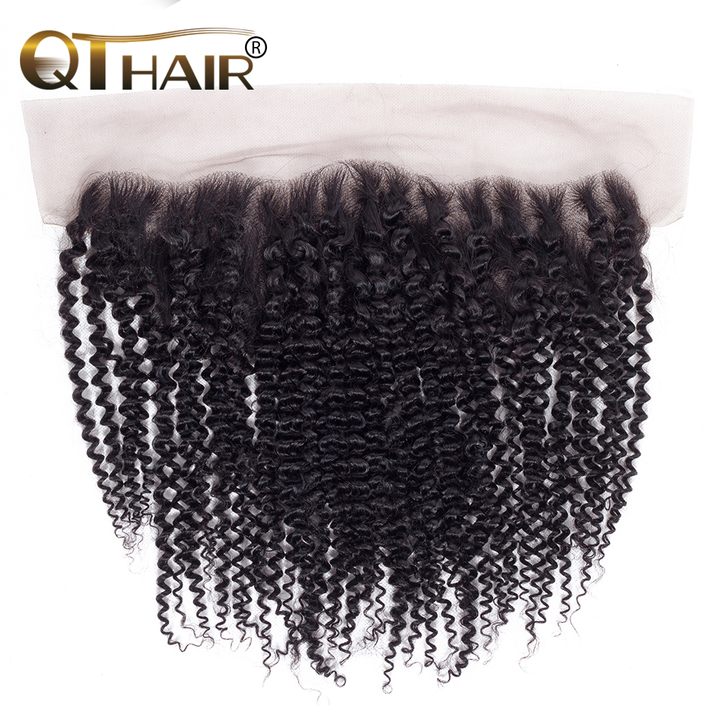 QT Hair Brazilian Kinky Curly Lace Frontal 13 4 Free Part Natural Black Color 100 Remy