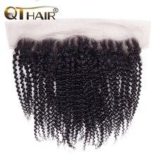 QT الشعر البرازيلي غريب مجعد الدانتيل أمامي 13*4 جزء مجانا الطبيعي الأسود اللون 100% ريمي الإنسان الشعر 10  20 بوصة شحن مجاني
