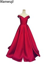 Real Photo Sweetheart  Aline Off-shoulder Satin Evening Dress Luxury Prom Dresses Formal Gowns In stock