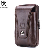 BULLCAPTAIN 2017 Man Waist Pack Cow Leather Men's Waist Bag Waist Bag For Mobile Phone Pocket Fanny Pack Coin Coffee Purse Bags