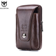 BULLCAPTAIN 2017 Man Waist Pack Cow Leather Men's Waist Bag Waist Bag For Mobile Phone Pocket Fanny Pack Coin Coffee Purse Bags(China)
