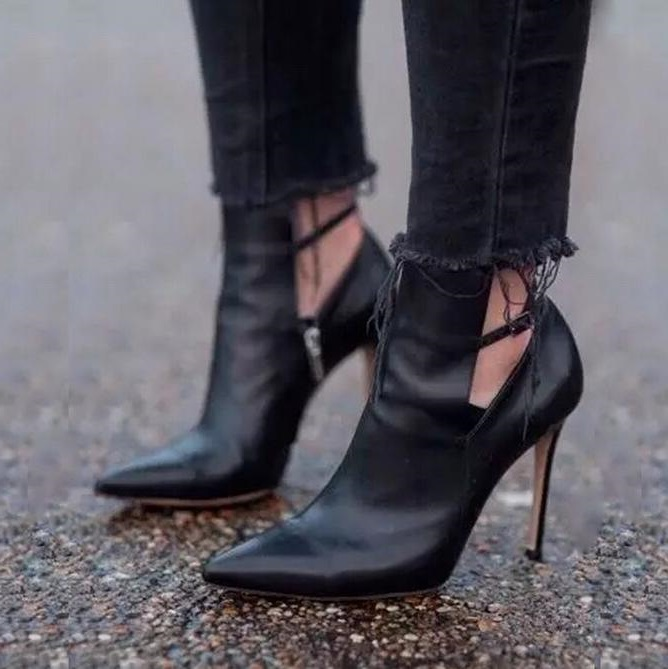 Sexy Black Leather Pointed Toe Strapy Buckle High Heel Pumps Cut-out Thin Heels Women Shoes Chic Gladiator Ankle Boots For Women chic style faux white agate cut out laef fringe bracelet for women