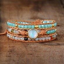 Высокое качество, женские браслеты, натуральный опал, камень, стразы, 3 ряда, кожа, обруч, браслет, необычные женские браслеты в стиле бохо, Прямая поставка