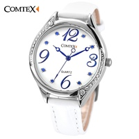COMTEX Women S Watches Casual Top Selling Fashion Female Wristwatch Crystal White Leather Watch Aterproof Quartz