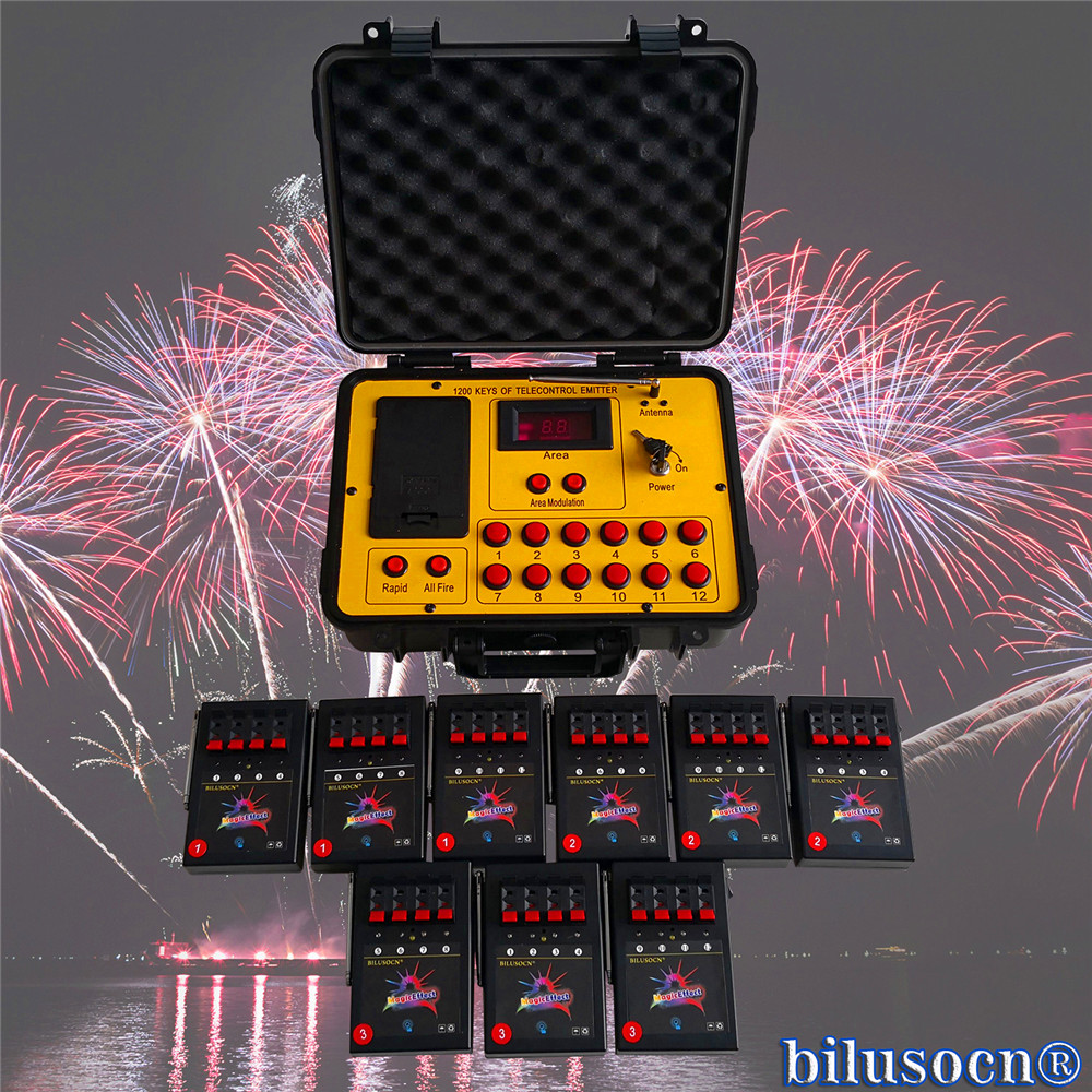Free Shipping Wireless 1200 group 36 channel Cues transmitter connect Remote radio fire wedding party machine