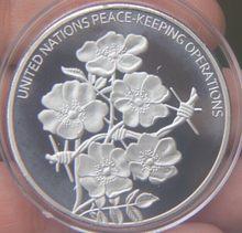 Médaille des opérations de maintien de la paix des états-unis, pièce commémorative plaquée argent