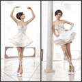 Envío de la nueva llegada de la bola corta vestido de novia de encaje apliques mini vestido de boda 2016