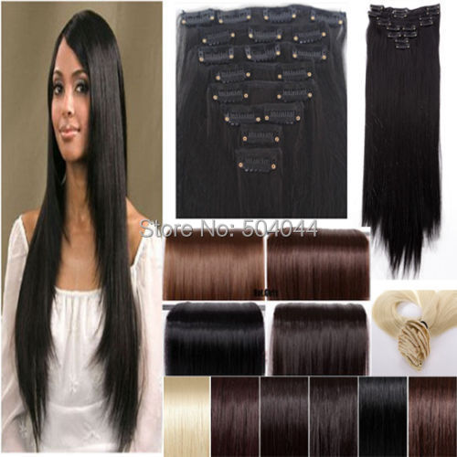 24″(60cm) 115g-125g 17colors Long Straight Synthetic Hair Clip in hair extensions 7pcs