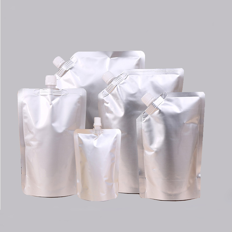 30pcs/lot 50ml/100ml/150ml/180ml/250ml350ml/500ml/1000ml/1500ml/2000ml Empty Silver Foil Lotion Pouch Bags Stand Up Packaging
