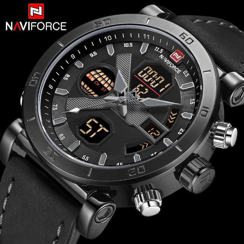 NAVIFORCE Men Sport Watches Leather Band Waterproof Analog Digital Clock Mens Chronograph Quartz Wrist Watch Relogio Masculino super speed v0169 fashionable silicone band men s quartz analog wrist watch blue 1 x lr626