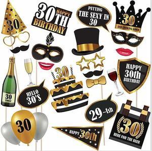 Image 2 - Chicinlife 30 ty temat balon na przyjęcie urodzinowe Cupcake Topper rekwizyty fotograficzne Banner słomy konfetti impreza dla dorosłych materiały dekoracyjne