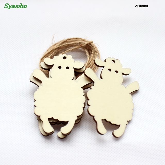 """(10pcs/lot) 70mm Natural Blank Wooden Sheep Tags Party Oraments Rustic Wood Keychains Supplies Craft 2.8"""" CT1527"""