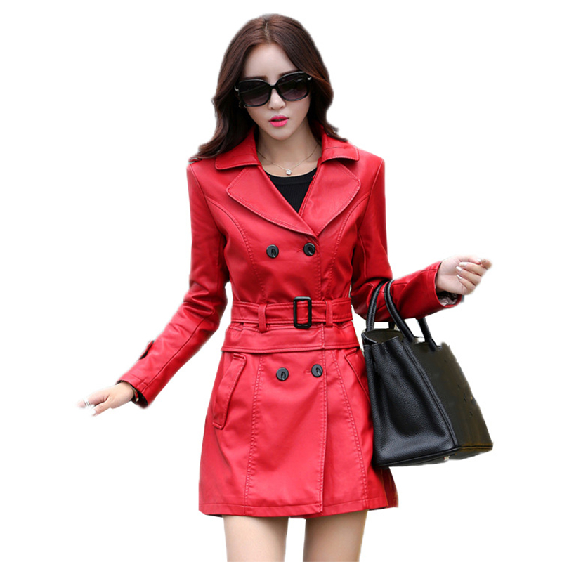 New Fashion Ladies Women faux Leather Sleeve Double Breasted Trench Coat Jacket