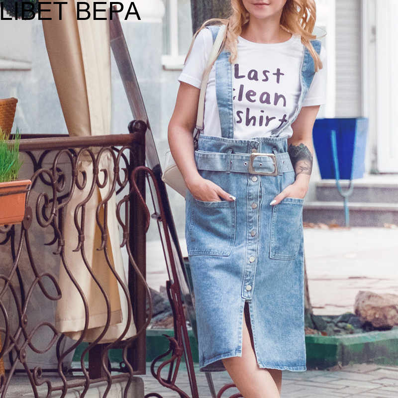 3ad4f7f9a9c ... 2018 New Spring Summer Women Strap Dress Casual Spaghetti Buttons  Sashes Denim A-Line High ...