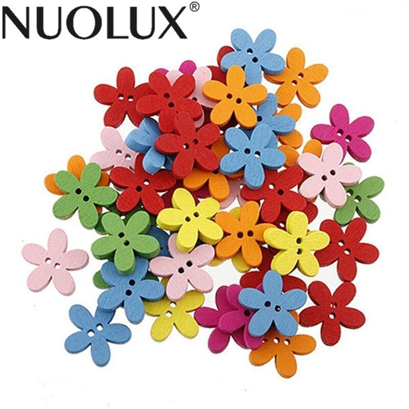 100 יחידות צבעוני פרח Flatback כפתורי עץ תפירת רעיונות קרפט