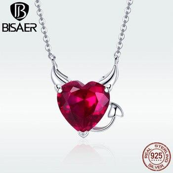 Ожерелье в форме сердца, Настоящее серебро 925 пробы, дьявол, красный камень в виде сердца, кулон, ожерелье для женщин, серебро, модные ювелирн... >> BISAER BS Official Store