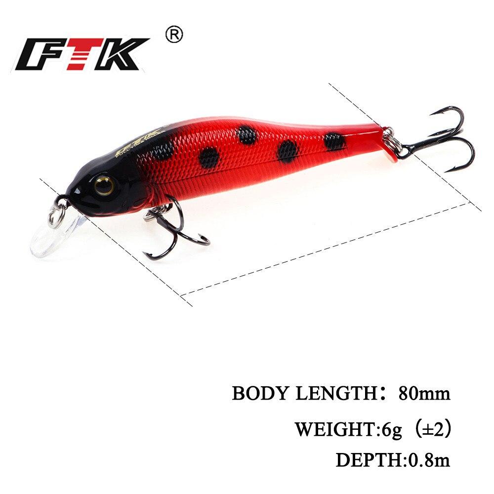 FTK Fishing Lure Minnow Wobblers Bass Bait Bent Minnow 3D Fish Eyes ...