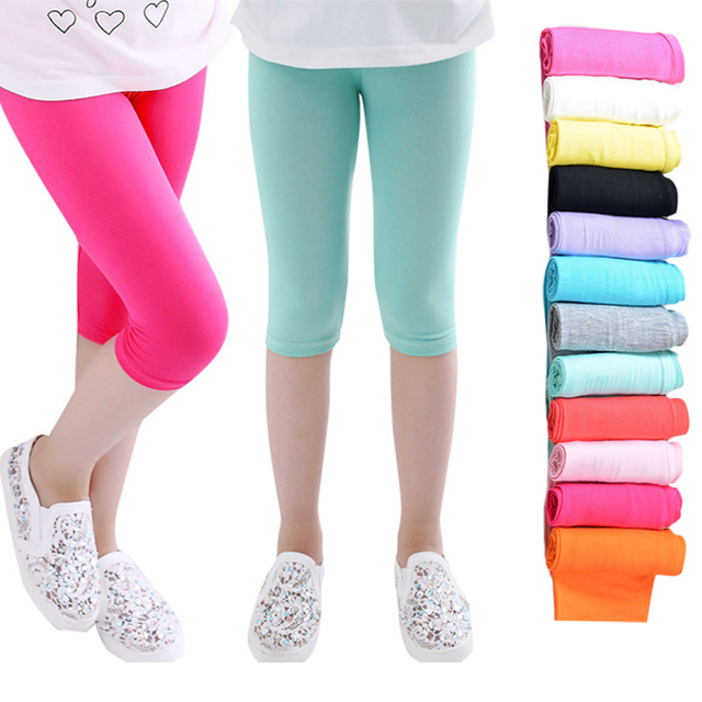 f8d866cb093fd 3-10years Girls Knee Length Kid Five Pants Candy Color Children Cropped  Clothing Spring-Summer All-matches Bottoms Leggings