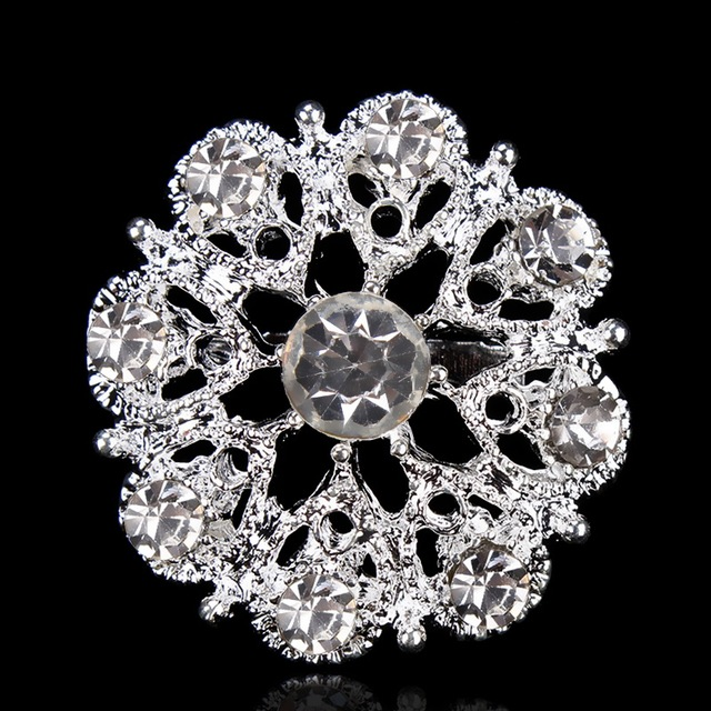baiduqiandu Silver Color Plated Small and Cute Crystal Flower Brooch Pins for Wo