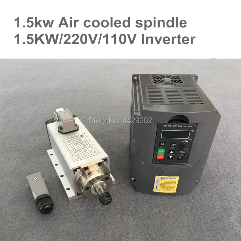 цена на CNC Router Spindle Motor 1.5KW Air Cooled Machine Tool Spindle +110V 220V 1.5KW Inverter Converter Square For Milling Machine