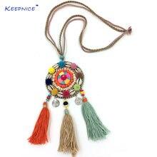 Новое длинное ожерелье в стиле бохо Ловец снов бархатный шар