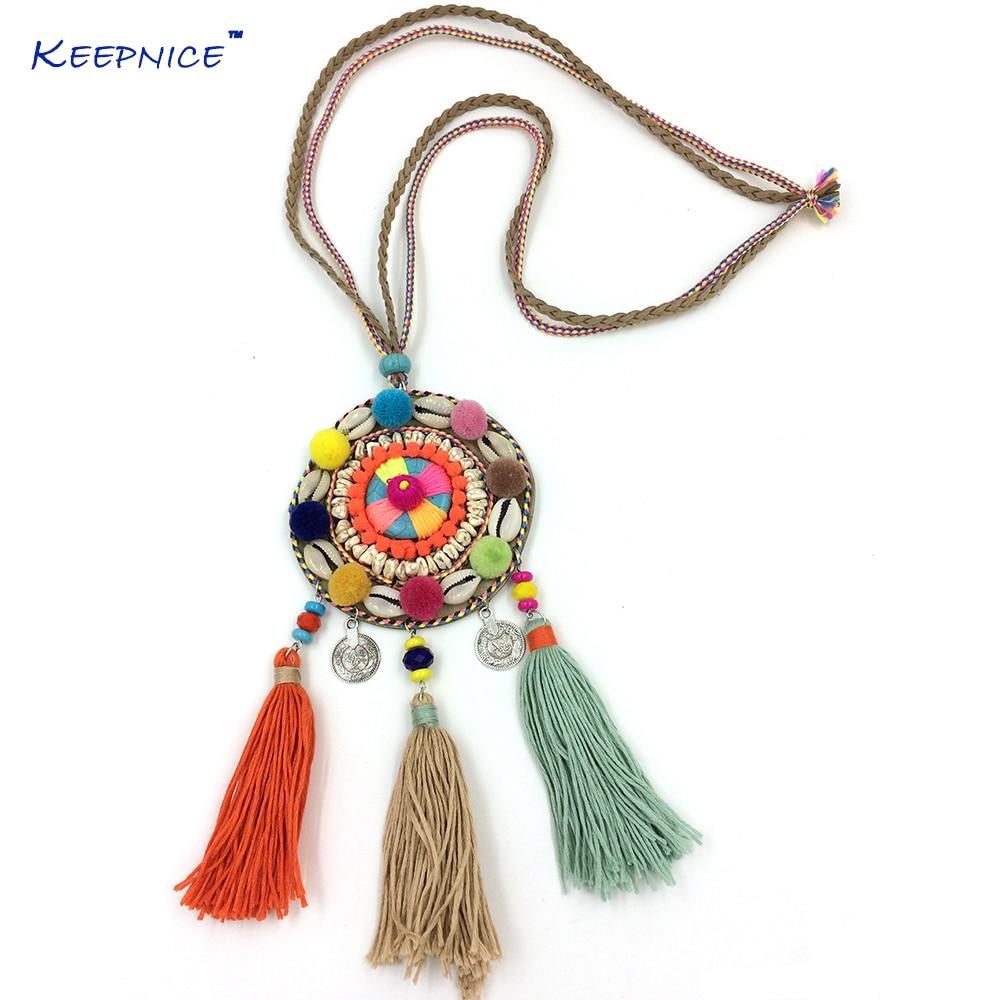 Nový Boho dlouhý náhrdelník Dream Catcher sametový míč střapec náhrdelník vosk strunové lano řetězové potrubí vícevrstvé přívěskové náhrdelníky
