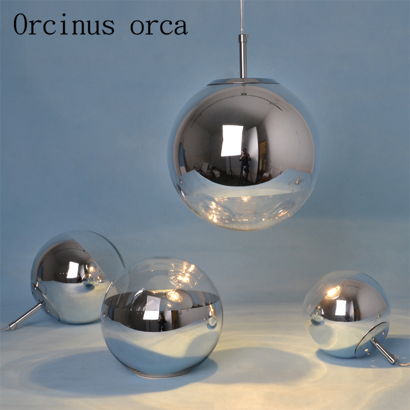 Modern led plating ball chandeliers restaurants bar study bedroom creative personality glass Chandelier free shipping