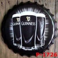 Guinness Custom Neon Sign 40CM Metal Painting Wall Decor Beer Bottle Cap Tin Signs Vintage Home