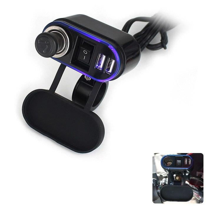 imágenes para Motocicleta 2 Dual USB Cargador de Encendedor de Cigarrillos de Carga Sistema de Toma De Corriente A Prueba de agua para 12 V/24 V Del Coche de Motor ATV Barco