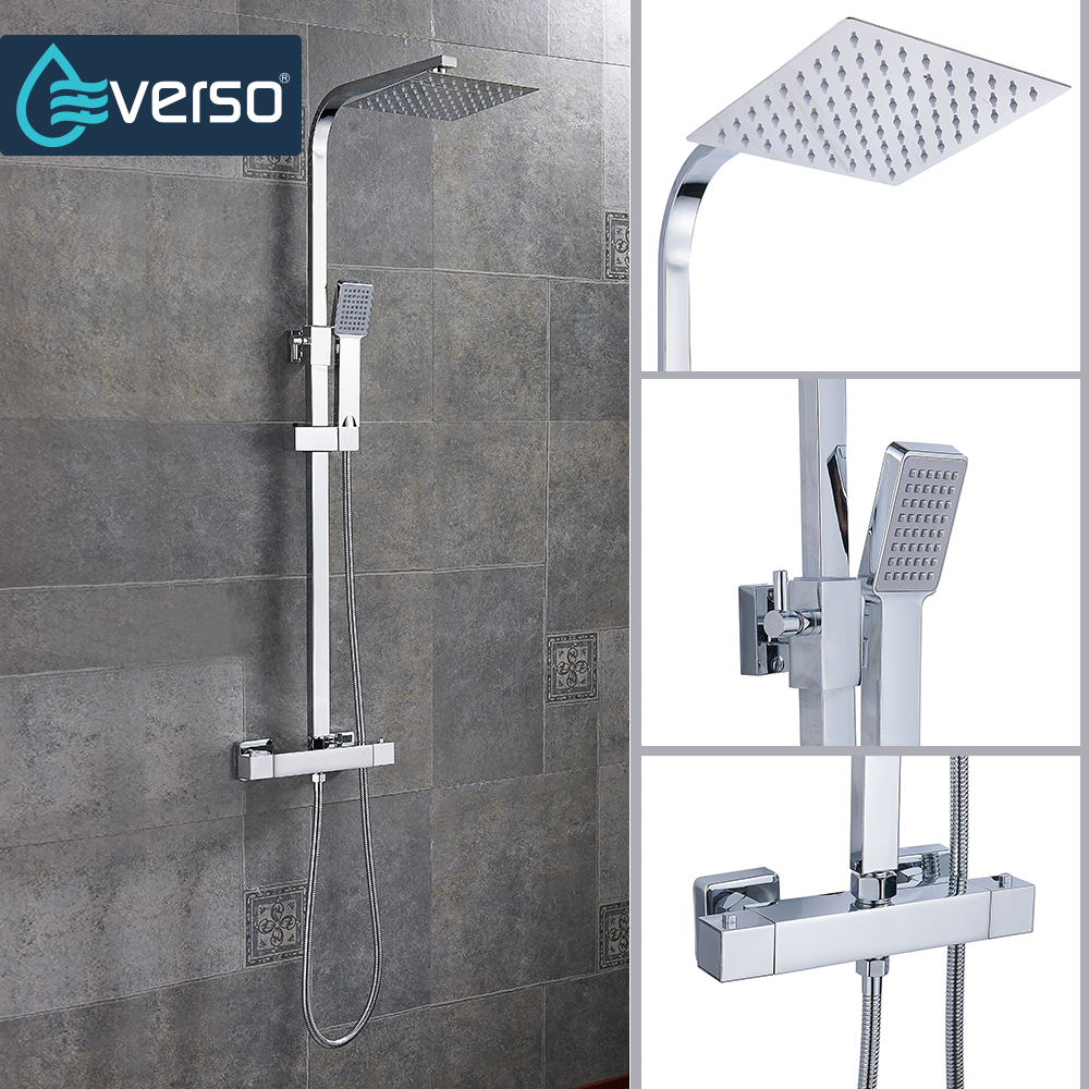 EVERSO Bathroom Shower Faucet Set Bronze Bathtub Faucet Mixer Tap Waterfall Wall Shower Head Shower Chrome Shower Tap fie new shower faucet set bathroom faucet chrome finish mixer tap handheld shower basin faucet