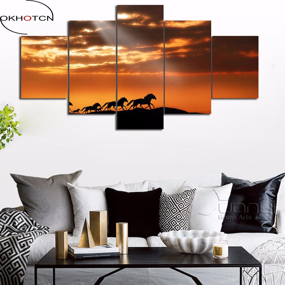 OKHOTCN 5 Pieces Canvas Art Modern Wall Decor Oil Painting Horses on the Prairie in Sunset Framed Cuadros Decoracion Poster