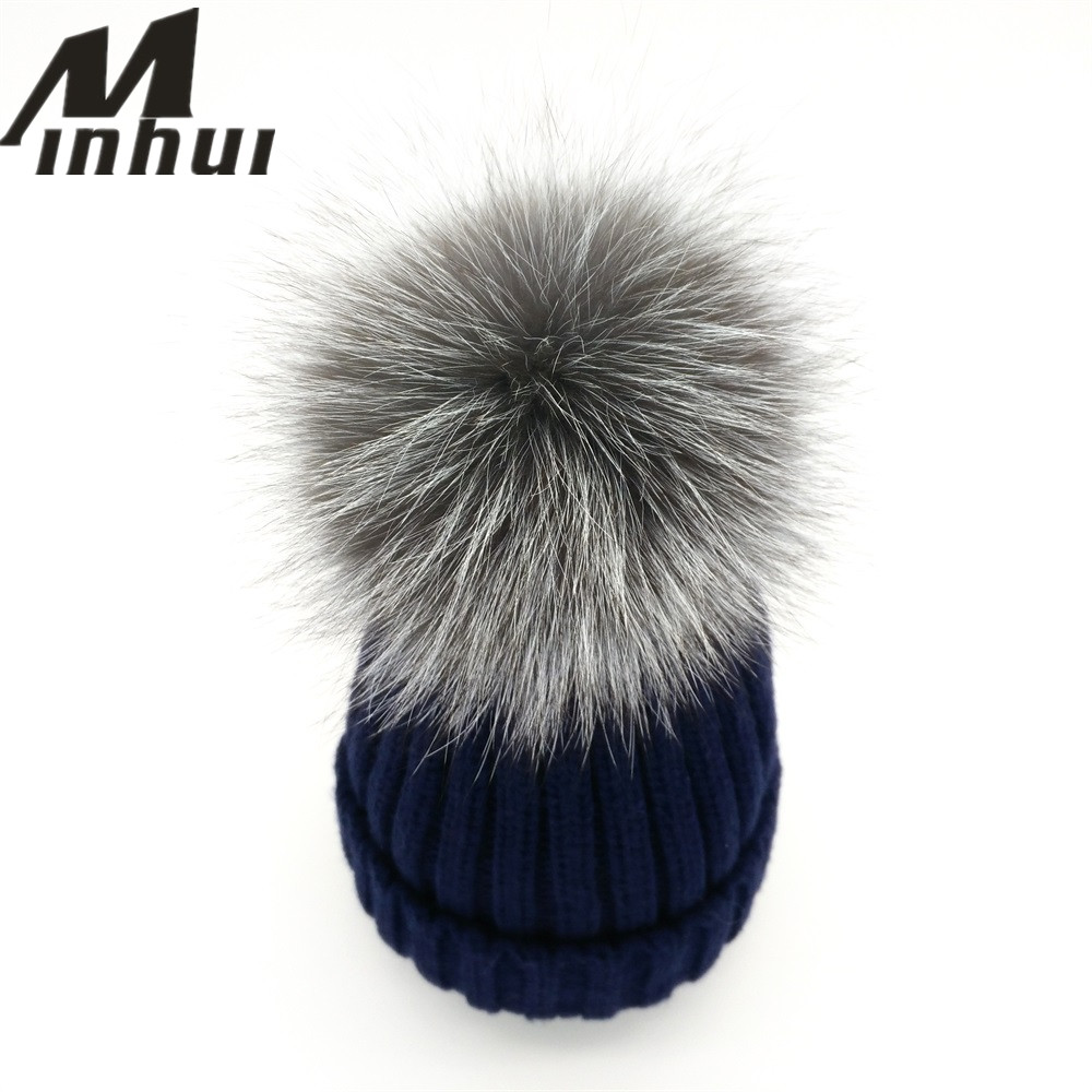 NºMinhui 2016 nuevos Fox Pieles de animales pompom sombrero mujeres ...
