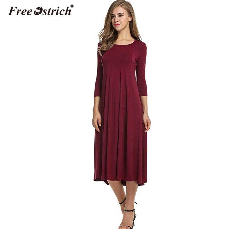 Free Ostrich Chiffon Dress Women Autumn Long Casual Loose Long Sleeve Solid Mid-Calf O-Neck Vestido Longo A3130