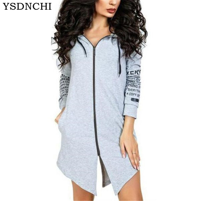 87f3fd9f0f9 YSDNCHI Autumn Winter Women Hoodies Sweatshirts Letter Long-sleeved Hooded  Harajuku Plus Size Sportswear Zipper Irregular Top
