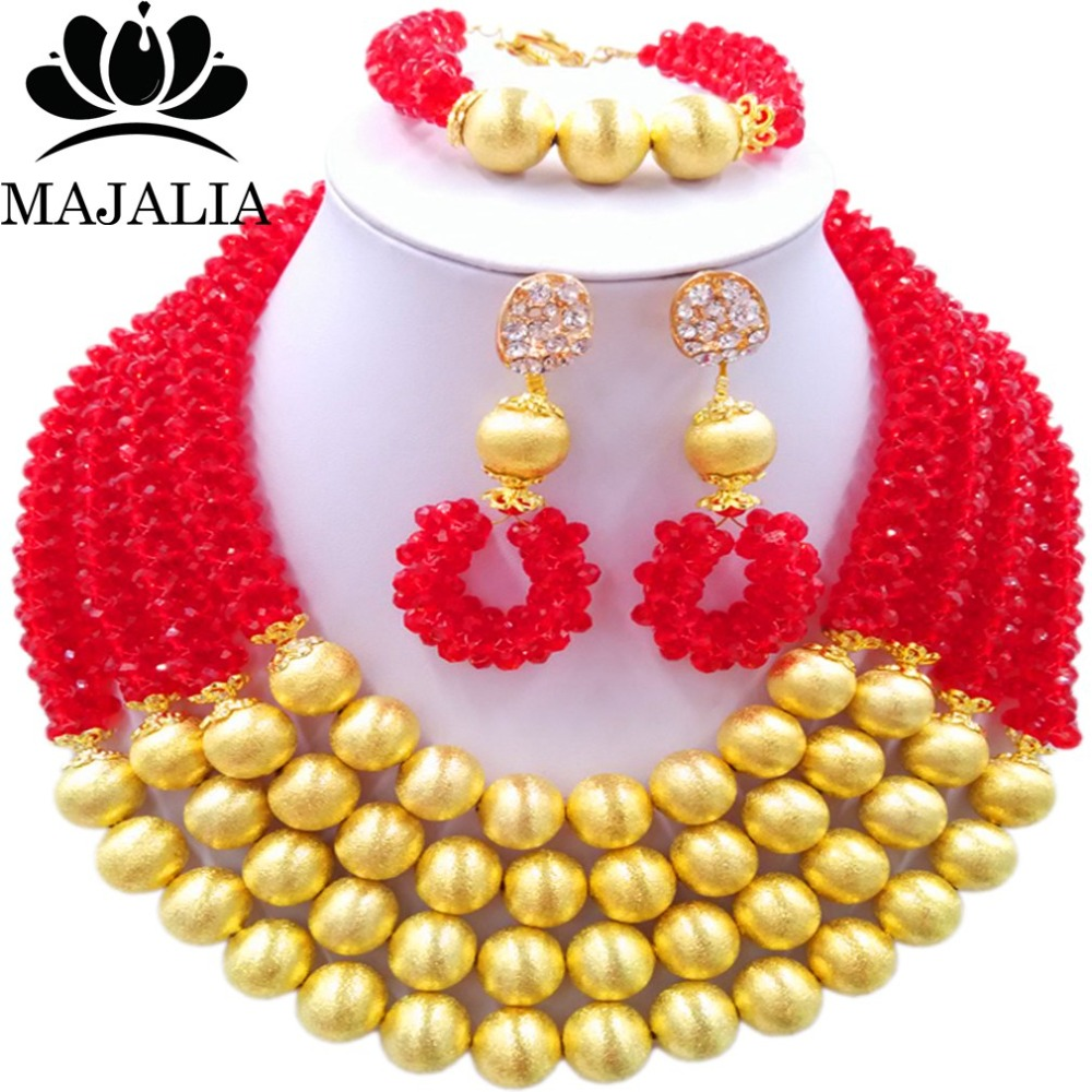 Majalia Fashion Red Nigerian Wedding African Jewelry Set Crystal Necklace Bride Jewelry Sets Free Shipping 3LI024 majalia fashion beige nigerian wedding african jewelry set crystal necklace bride jewelry sets free shipping 3li004